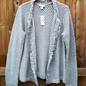Loft NWT women's  cardigan fringed knit size M